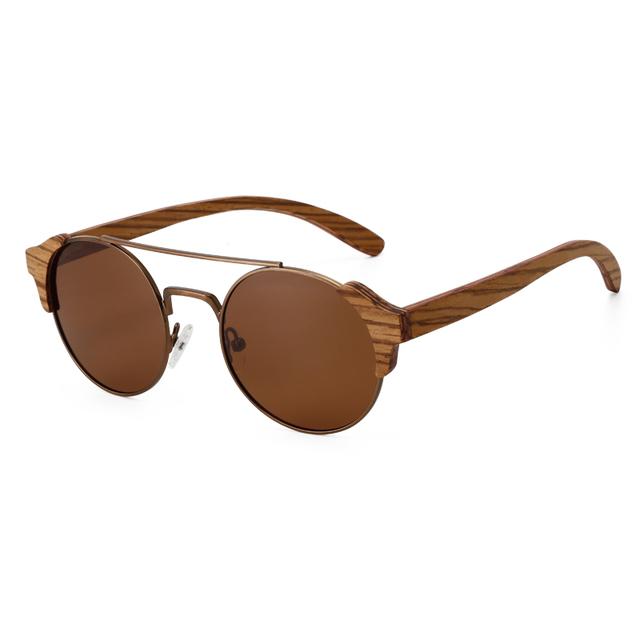 Unisex Round Zebrawood Wooden Sunglasses
