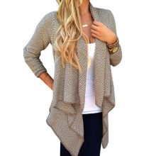 Stylish Women Sweater Trendy Solid Collarless Knitted Long Sleeve Cardigan For Women Fashion Knitwear Cheap Clothing