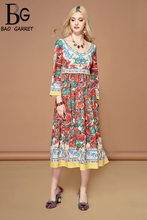 Baogarret Fashion Runway Autumn Dress Womens Long Sleeve Multicolor Floral Print A Line Midi Casual Holiday Elegant