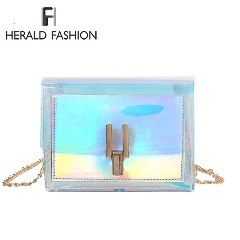 Herald Fashion Mini Women Shoulder Bag Transparent Holographic Summer Holiday Flap Bag Laser Ladies Messenger Crossbody Bags