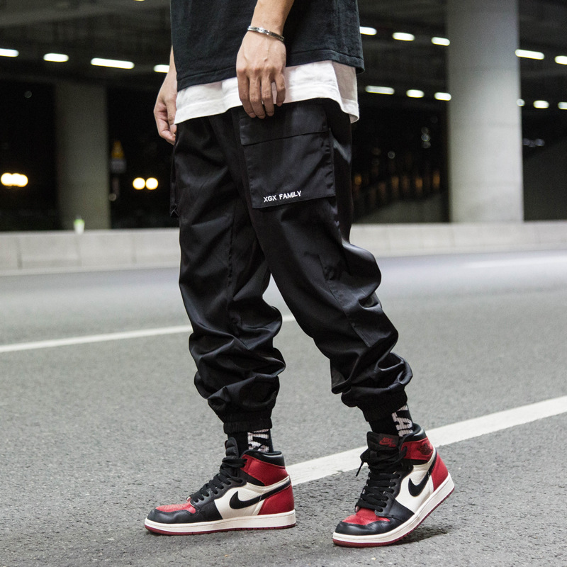 11 BYBB'S DARK Mens Side Pockets Harem Cargo Pants Hip Hop Casual Male Joggers Trousers 2019 Fashion Streetwear Pant Orange WA18