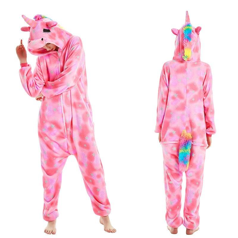 Image 5 - Women Kigurumi Unicorn Pajamas Sets Flannel Cute Animal Pajamas Kids Women Winter Stitch Tiger Nightie Pyjama Sleepwear Homewear-in Pajama Sets from Underwear & Sleepwears
