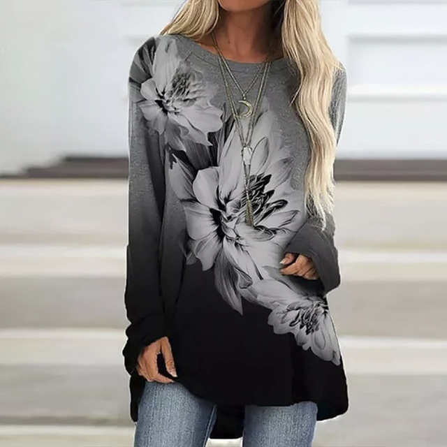 Vintage Abstract Flowers Print Women Blouse  Casual O Neck Long Sleeve Pullover 3