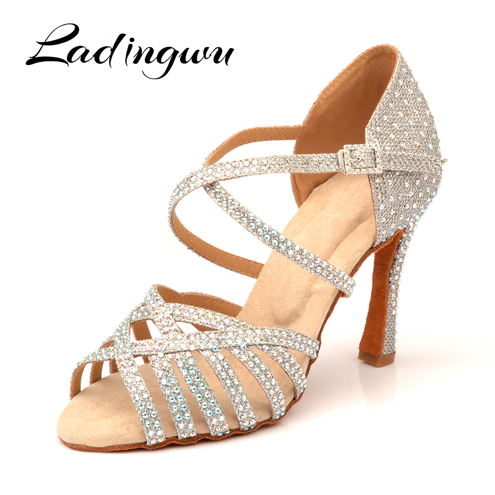 Ladingwu Latin Dance Shoes Women Party Dance Shoes Four-color  Optional Shining Rhinestones Salsa Dance Shoes Sandals Cuban Heel