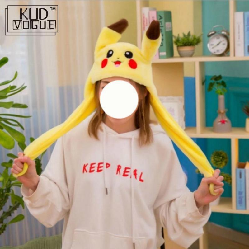 1pc 60cm engraçado para pikachu e coelho chapéu com orelhas em movimento pelúcia brinquedo recheado macio criativo chapéu boneca bonito presente de aniversário 8446