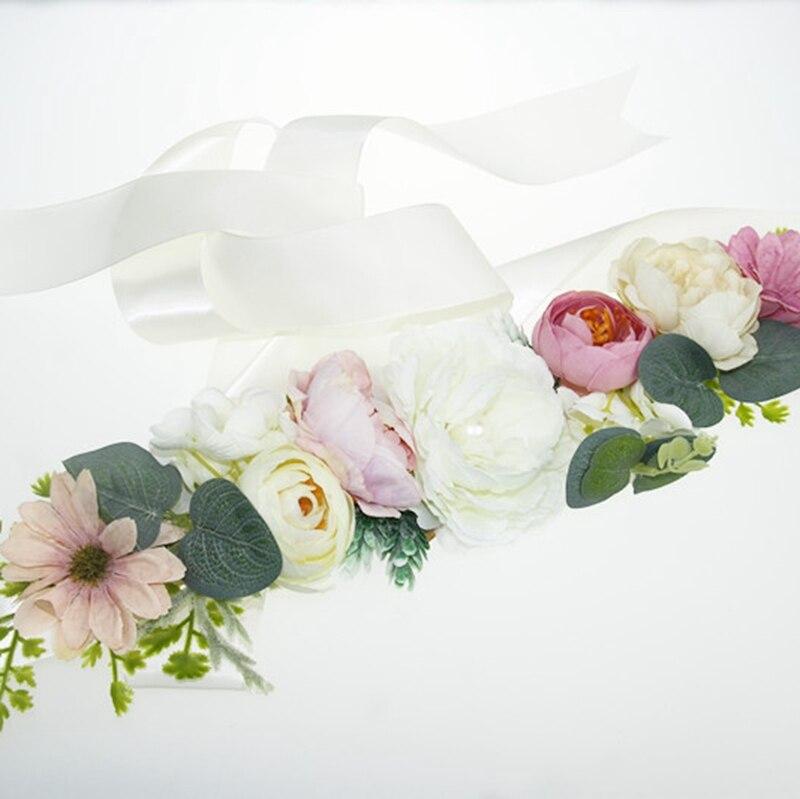Wedding Fashion Belt Sash Polyester Floral Women Dress Belts Wedding Bridal Flower Girl Sash Satin Ribbon Flower Belt YYY8077