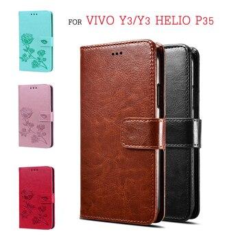 Перейти на Алиэкспресс и купить Чехол-книжка для Vivo Y3 Helio P35, чехол-бумажник для Vivo Y3 standard Edition Premium из искусственной кожи, защитный чехол для телефона