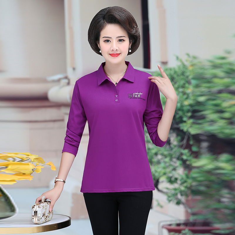 Woman Spring Polo Shirt Red Navy Blue Purple Turn Down Collar Long Sleeve Cotton Tops Midldle Aged Women Casual Daily Tees 2020