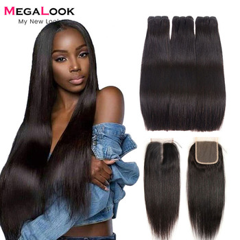 Straight Hair Bundles With Closure Human Virgin Double Drawn Brazilian Weave 3/4 with - discount item  40% OFF Human Hair (For Black)
