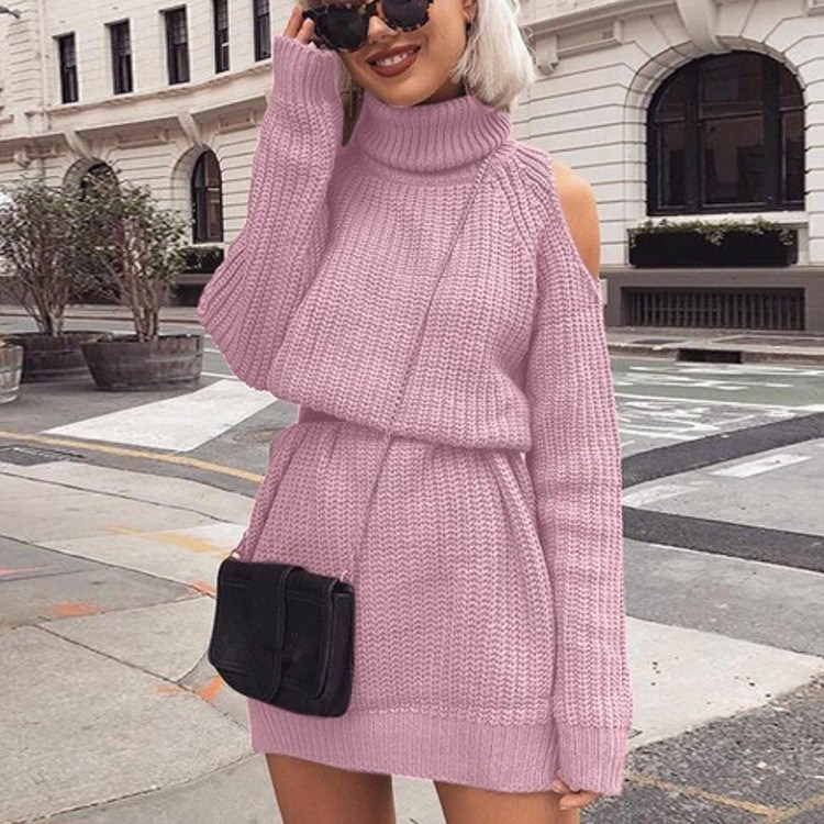 Nice Autumn Winter Women Pink Warm Cold Shoulder Dress Casual Turtle Neck Mini Loose SKnitted Weater Dress