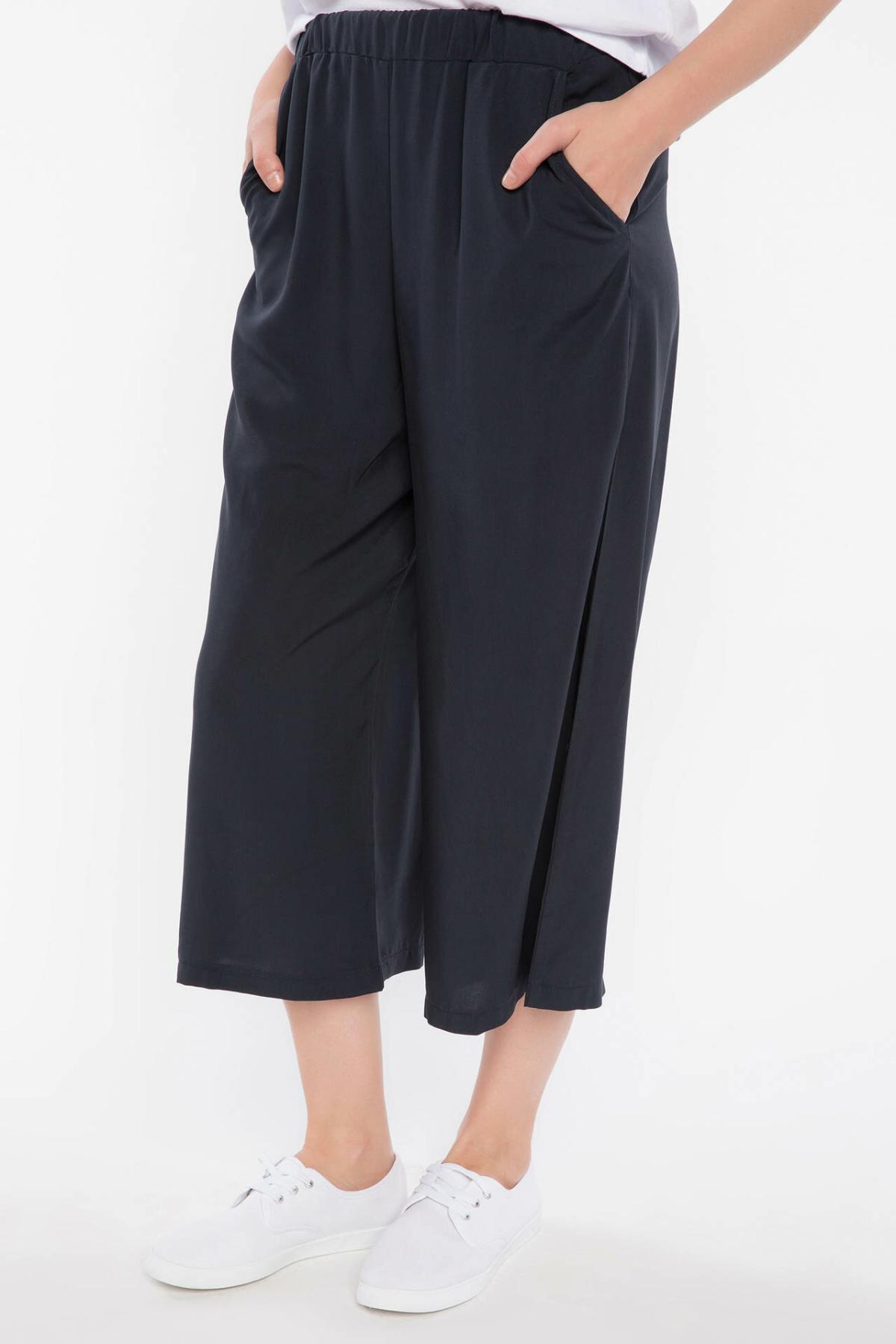 DeFacto Woman Summer Wide-leg Ninth Pants Women Casual Elastic Black Bottoms Female LooseTrousers-I3761AZ18SM