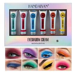 6 цветов/коробка ярче тени крем для глаз, легко наносится, тени для век, зеленого, фиолетового, Make up стойкий макияж тени для век косметика