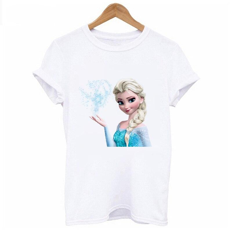 Lus Los New Summer Women Cartoon Frozen Series T Shirt Short Sleeves Cotton Tops Women White T-shirt 2019