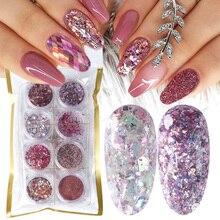 8 Box Mix Glitter Nail Art Powder płatki zestaw holograficzne cekiny do Manicure polerowanie ozdoby do paznokci lśniące porady LA1506 05 2