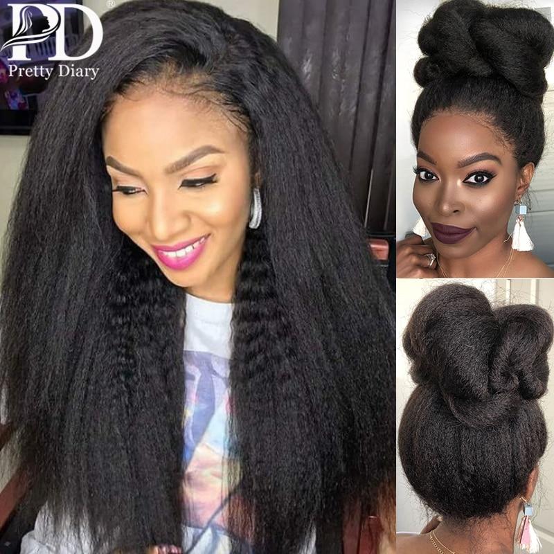 Kinky reta 13x6 perucas dianteiras do laço para as mulheres 360 peruca frontal do laço pré arrancado com o cabelo do bebê longo remy yaki perucas de cabelo humano