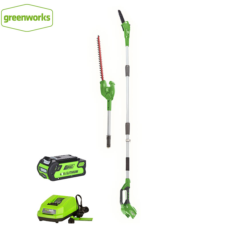 New Arriaval GreenWorks 20302 G-MAX 40V 8-Inch Cordless Pole Saw And Hedge Trimmer Comb Battery And Charger Include