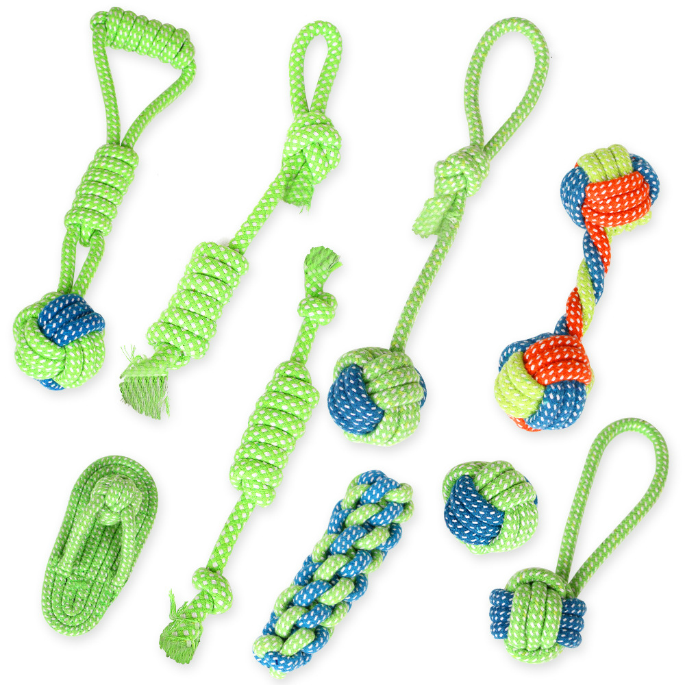 Dogs Chew Teeth Clean Toy Outdoor Traning Fun Playing Green Rope Ball Toy For Large Small Dog Cat Dog Supplier