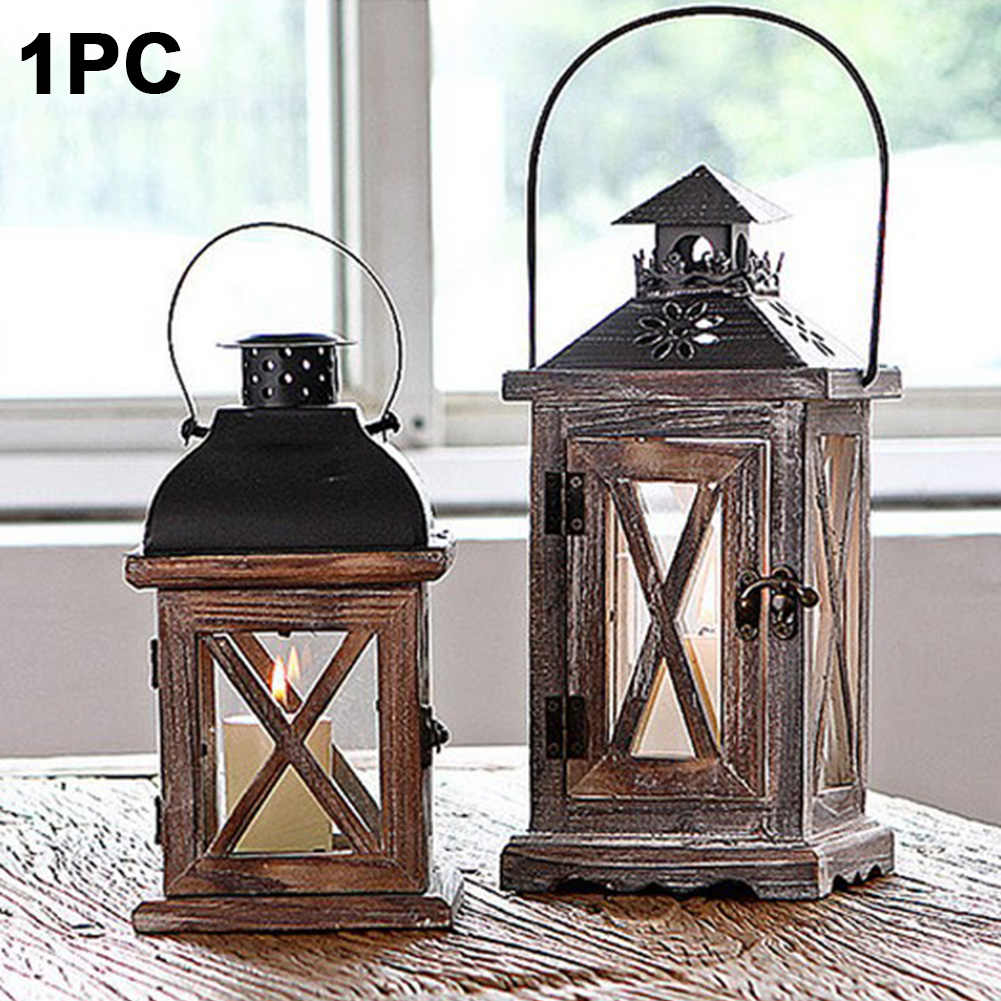 Exquisite Hanging Wedding Handmade Lantern With Handle Home Vintage Candle Holder Gift Wood Metal Garden European Style