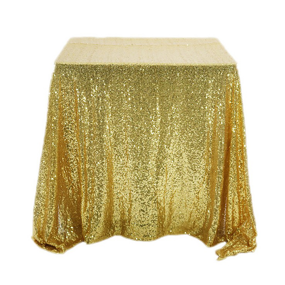 Gold Glitter Tablecloth Square Embroidered Sequins Party Table Decorations Shiny