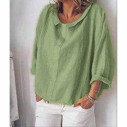 Moda 5 colores 5Xl bonito verano mujeres blusas de lino suelta de manga larga blusas de talla grande Casual sólido camisas de gran tamaño