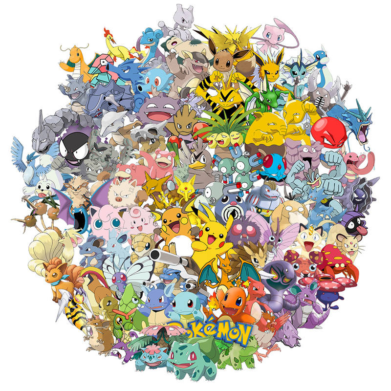 100Pcs Pokemon Stickers Best Gift For Kids Children Teens Cartoon Anime Stickers  For Laptop Home Decor Diary Hydro Flasks Water
