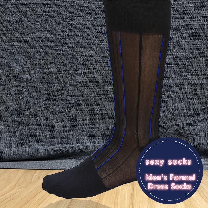 Men's Socks Ultra Thin Silk Socks Mens Formal Dress Suit Socks Sexy Sheer Transparent Socks Erotic Male Business Dree Socks