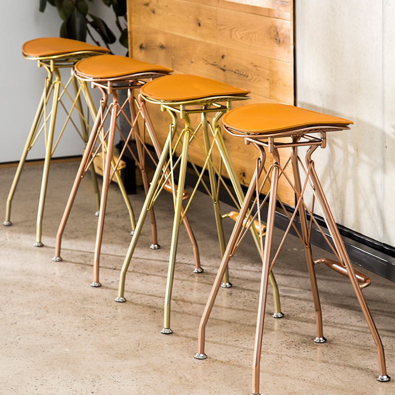 73cm Minimalist Golden Wrought Iron Bar Stool For Tea Coffee Shop Home High Stool Bar Stools Modern  Bar Chair,W