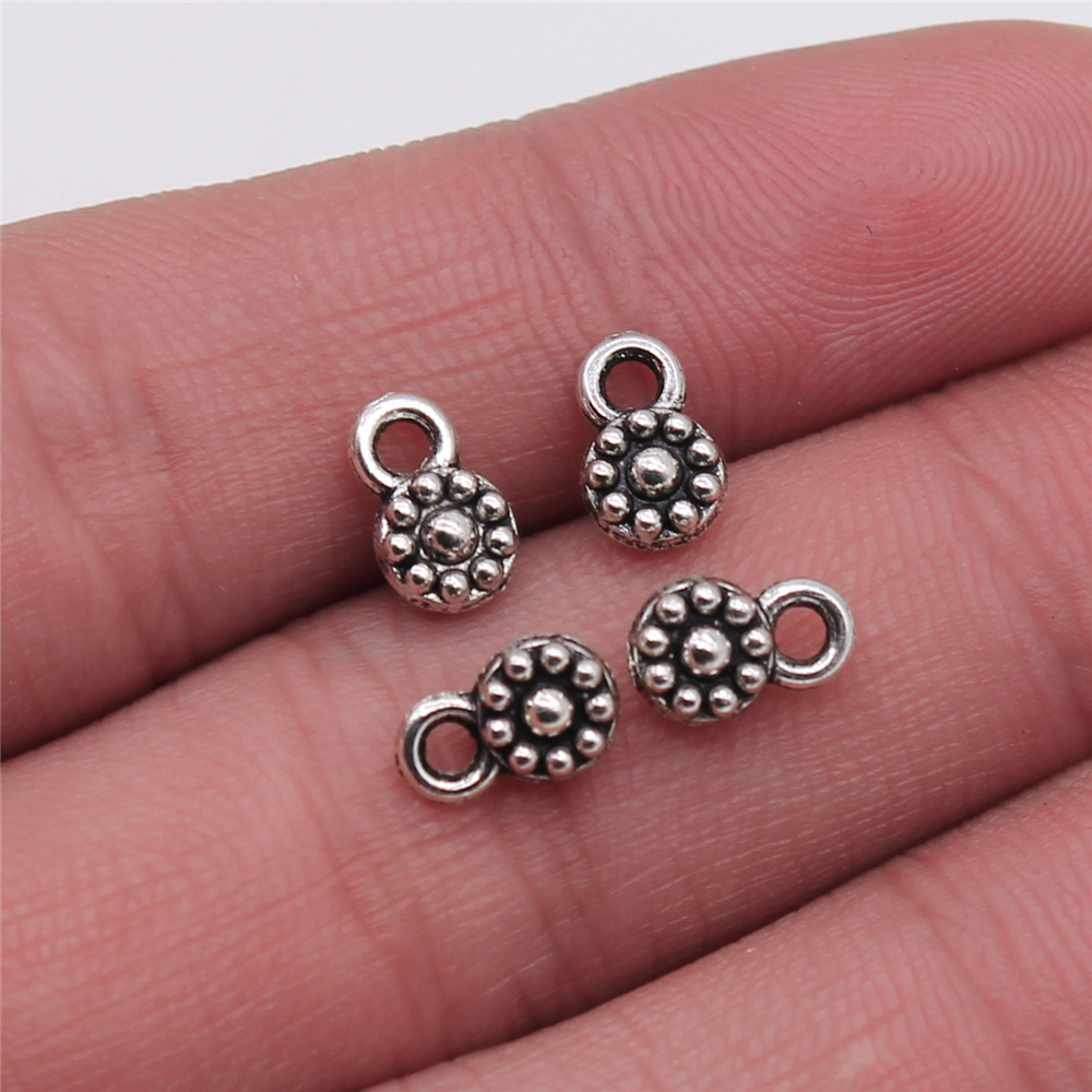 WYSIWYG 30pcs/lot Small Flower Pendant Charms For Jewelry Making 5x9mm Antique Silver Color Jewelry Accessories