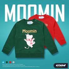 Moomin gruesa Camiseta de manga larga para primavera y verano, ropa de algodón con dibujos animados de Navidad y Finlandia, cuello redondo, color verde