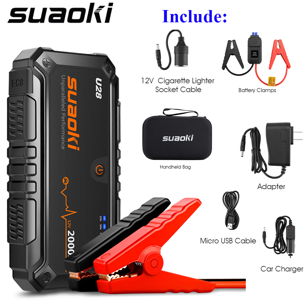 Suaoki U28 Car Jump starter 2000A Peak Jump Starter Pack USB Power Bank LED Flashlight and Smart Battery Clamps for 12V Car