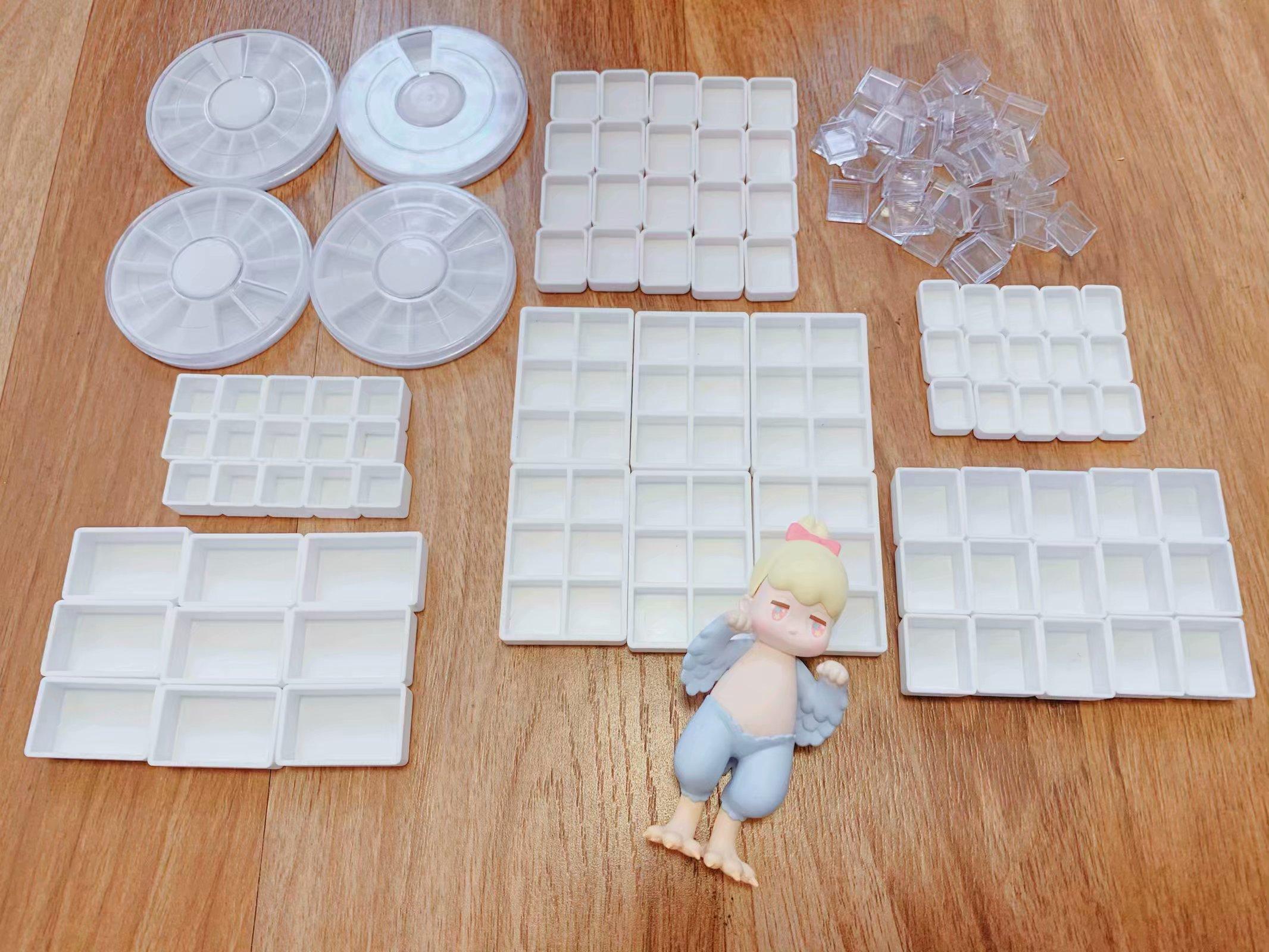Watercolor Pigment Pan Pack Disc Plaid Wholesale Water Color Plastic Pallette 0.5 Ml Enough 2 ML Half Pans Paint Tray Paletas
