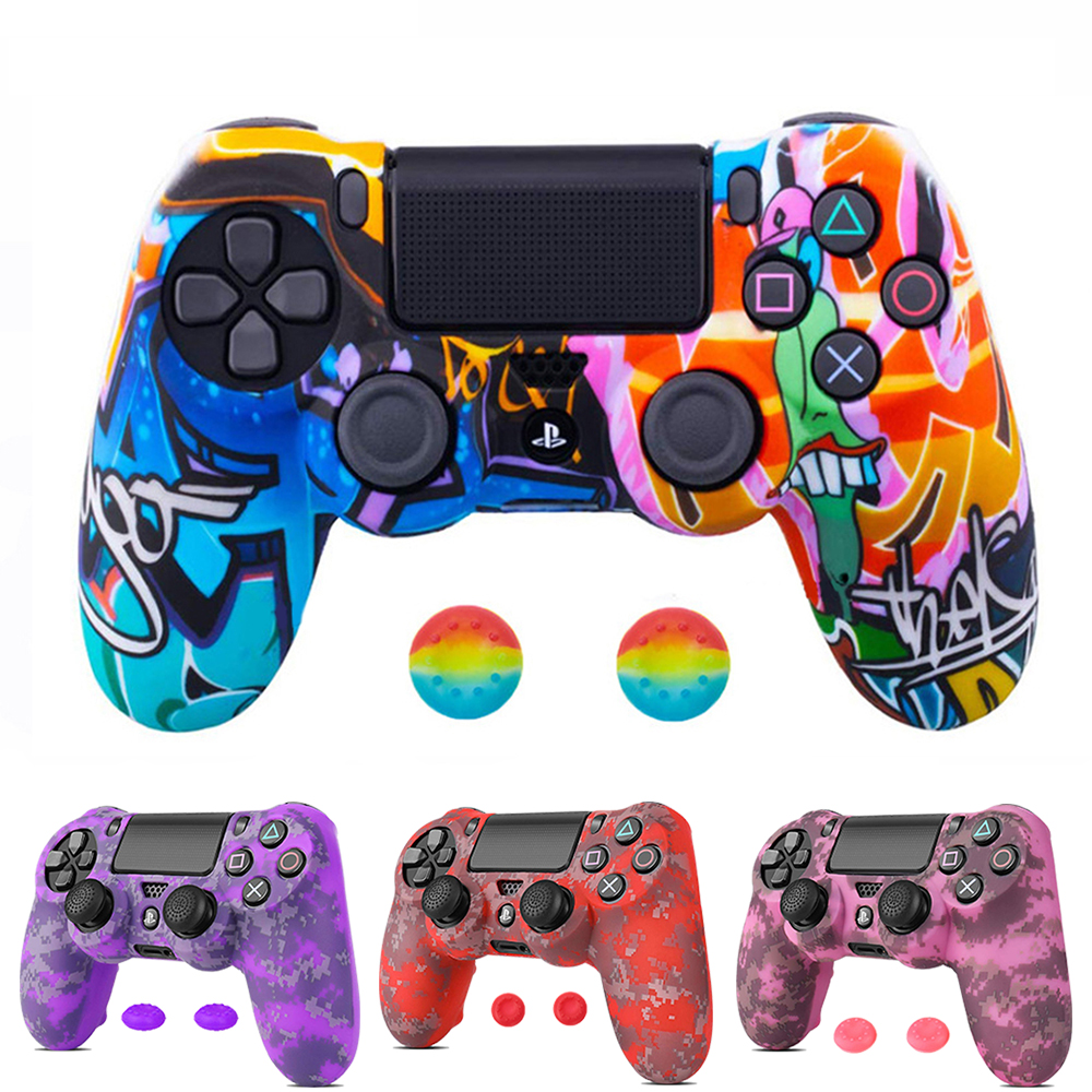 ZOMTOP Silicone Camo Protective Skin <font><b>Case</b></font> For Sony Dualshock 4 <font><b>PS4</b></font> DS4 Pro Slim <font><b>Controller</b></font> Thumb Grips Joystick Caps image