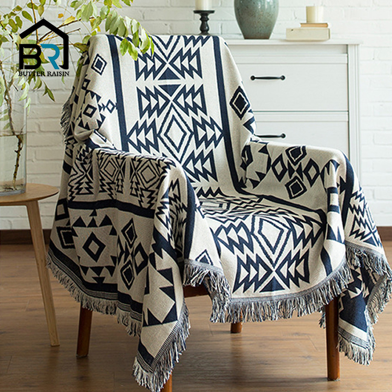 Europe Style Sofa Throw Blanket Cotton Thread Knitted Blanket With Tassel Geometry Bohemian Sofa Cover Bed Blanket Home Decor