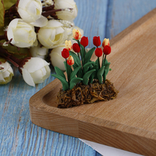 New arrival 1/12 Scale Miniature Resin Hanging Tulip Flower Dollhouse Fairy Garden Decor Doll House