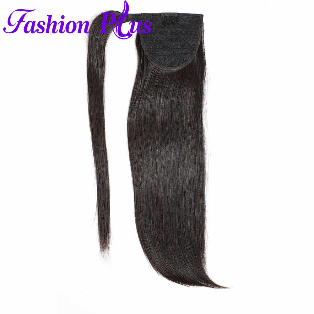 Lange Peruaanse Paardenstaart Human Hair Extensions Straight Remy Haarstukje Magic Wrap Around Clip In Paardenstaart Voor Vrouwen