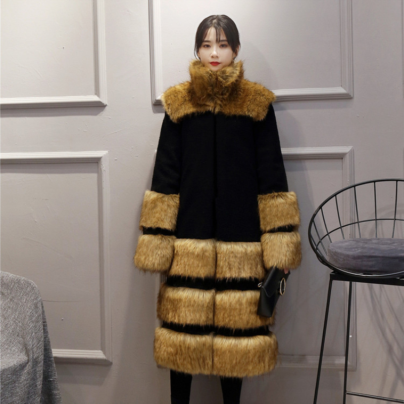 Hot Sale Faux Fur Coat Women Winter Long Female Sheepskin Coats With Raccoon Dog Fur Collar Furs Plus Size D190911