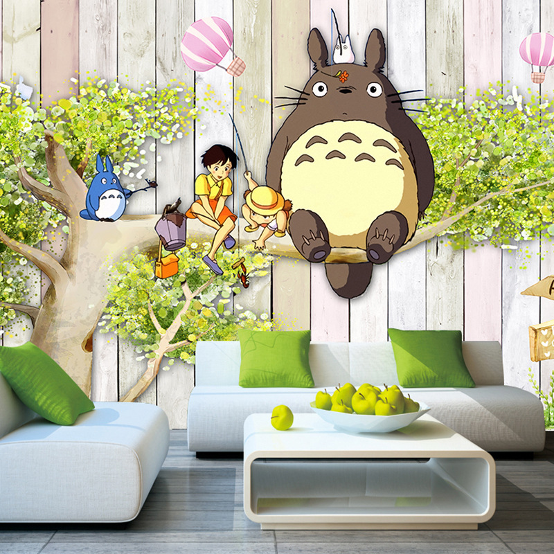 Large Mural Hand-Painted Cartoon Totoro Wallpaper Early Education Center Living Room CHILDREN'S Room Bedroom TV Backdrop Wall Wa