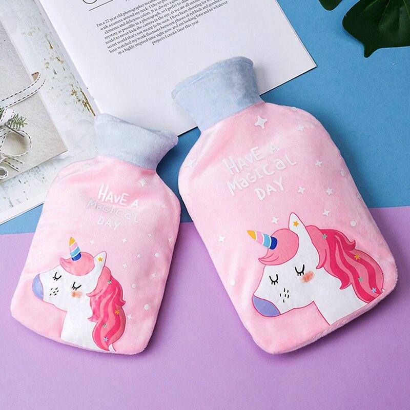 Портативные бутылки для воды с милым мультяшным единорогом, теплые мини-бутылки для воды, карманные сумки для горячей воды для девочек