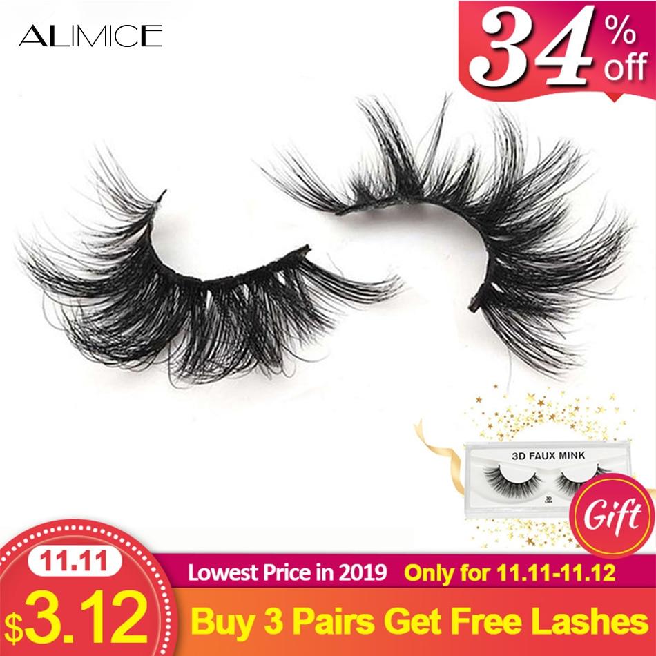 Alimice 25mm 3D Mink Lashes Long Extra Length Lashes Big Dramatic Volume Eyelashes Strip Thick False Eyelash Wholesale Makeup