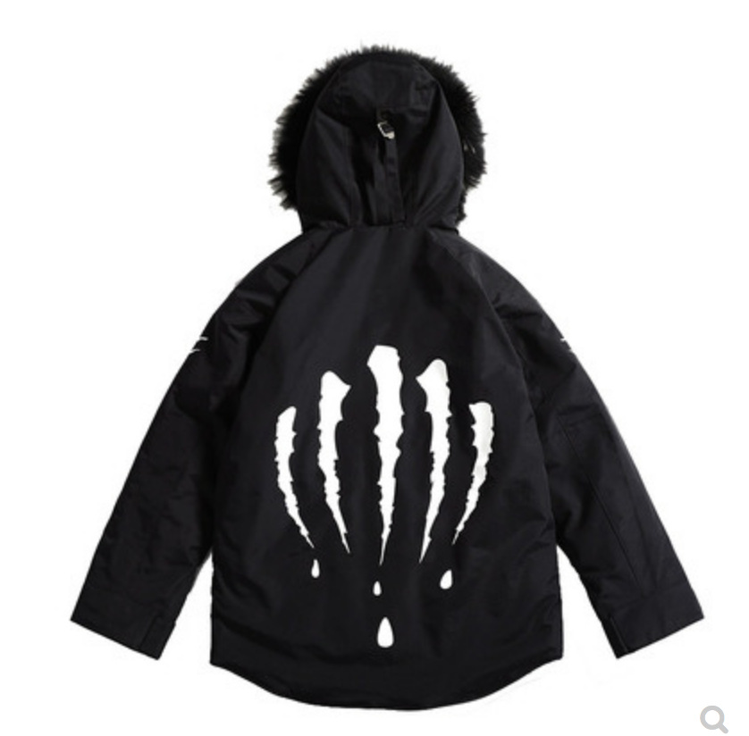 National Trends Autumn And Winter Claw Jacket Fur Collar Long Mountain Eagle Cotton Coat Loose-Fit Couples Quality Assurance