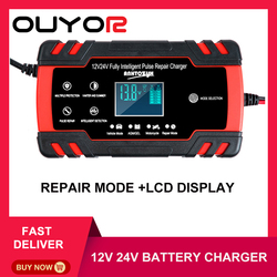 Car Battery Charger 12/24V 8A Touch Screen Pulse Repair LCD Fast Power Charging Wet Dry Lead Acid Digital LCD Display
