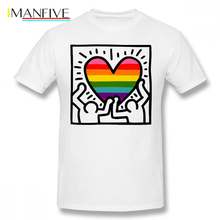 Keith Haring T Shirt Keith Haring Wu Original Pride Flag T-Shirt Short-Sleeve 100 Percent Cotton Tee Shirt Funny Tshirt