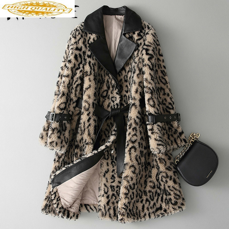 Real Fur Coat Women Sheep Shearling Winter Coat Women Cotton Liner Slim Real Fur Jacket Korean Leopard Warm Coat KQN18133 YY1566