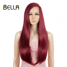 BELLA Red Wig Synthetic Lace Front Wig Burgundy Red 30