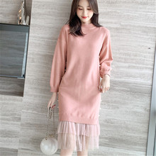 Fashion Sweater Dress Korean Knitted Lace Sweaters Elegant Women Beading Dresses Autumn Plus Size