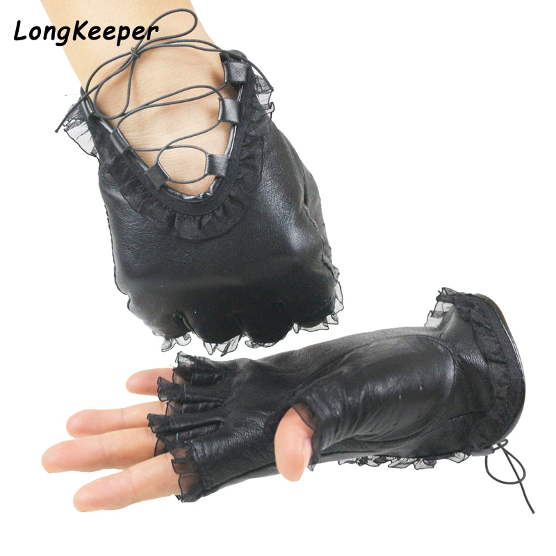 Punk Cool Ladies Half Finger Gloves Genuine Leather Mittens Women Sexy Disco Dance Costume Lace Fingerless Gloves Driving Gloves