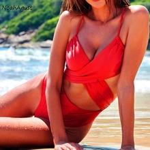 цена на Criss Cross Sexy Swimsuit One Piece Swim Suit Plus Size Swimwear Women Bathing Suit Red Monokini String Halter Swim Wear 2020
