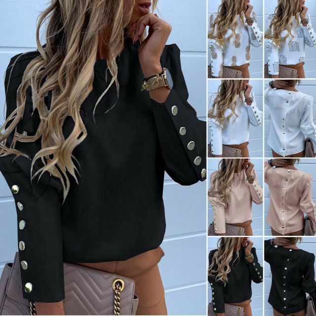 2020 Work Wear Women Blouses Long Sleeve Back Metal Buttons Shirt Casual O Neck Printed Plus Size Tops Fall Blouse Drop Shipping 3