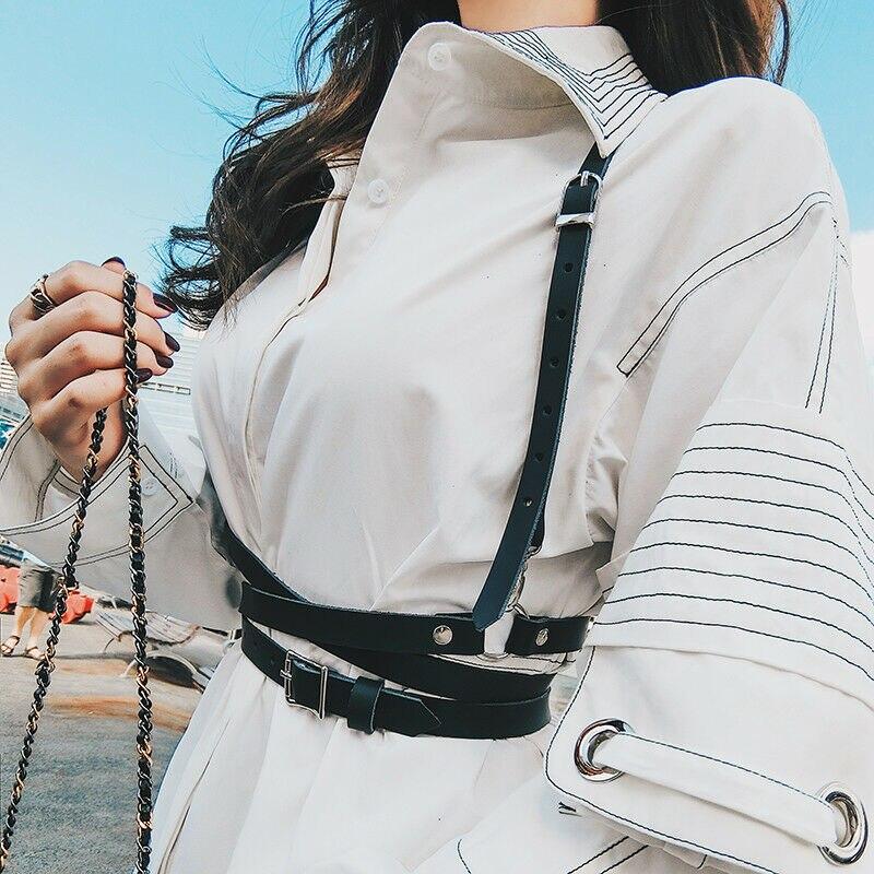 Fashion Women Leather Harness Belt Handmade Neck To Waist Suspenders Body Girdle  /BY