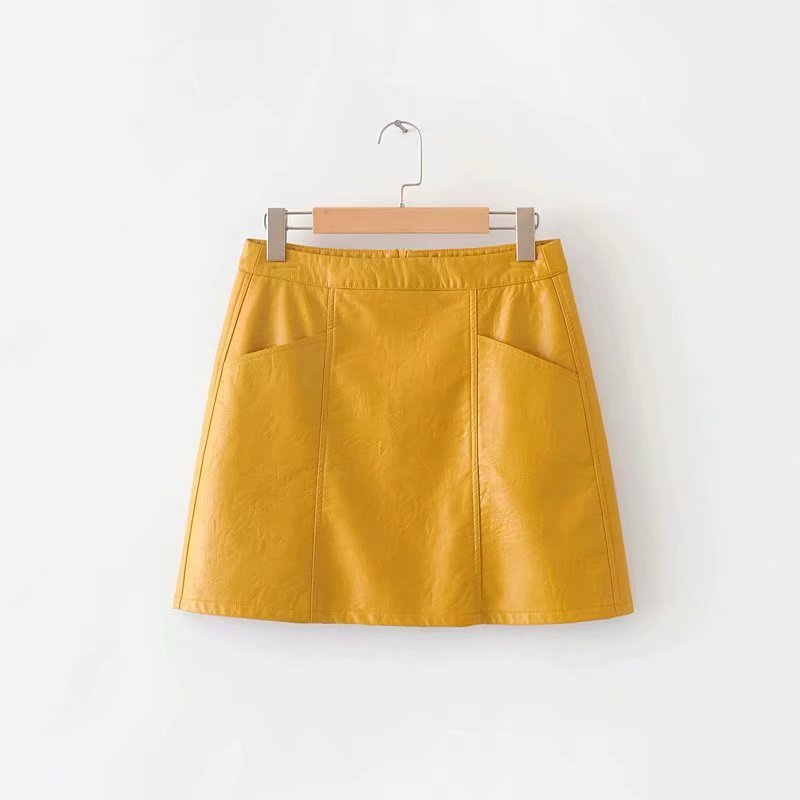 2019 Spring New Style Western Style Large Pocket Leather Skirt Slim Fit Sheath Short Skirt